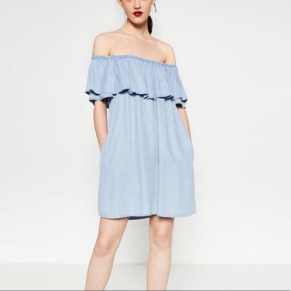 Zara Dresses & Skirts - ZARA Denim Off Shoulder Dress
